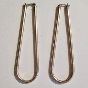 """Ghel Earrings 3"""" Long Silver Color"""